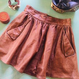 Anthropologie DotL Leather Mini Skirt